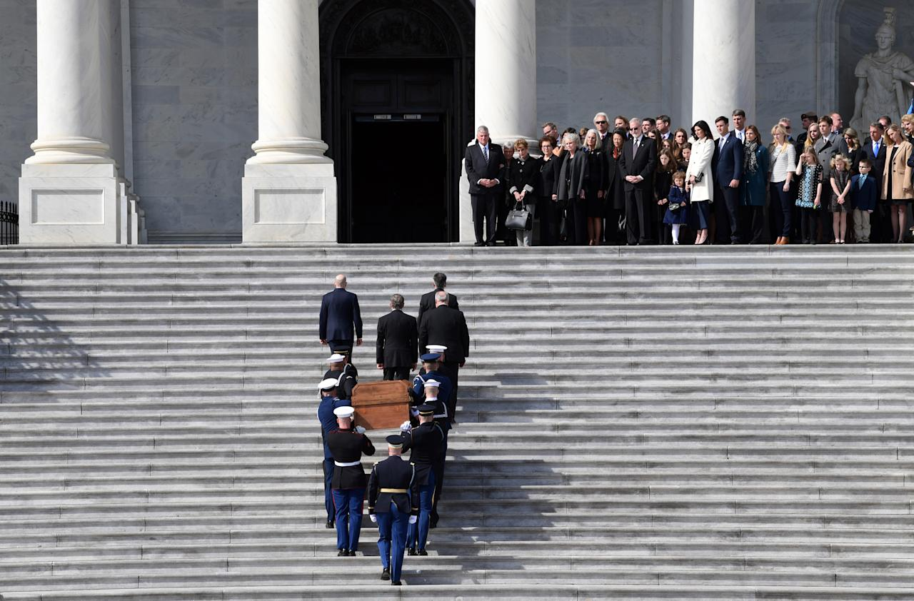 <p>The family of Rev. Billy Graham watches as the casket containing the late Rev. Billy Graham arrives at the U.S. Capitol prior to a ceremony and lying in honor inside the Rotunda in Washington, Feb. 28, 2018. (Photo: Susan Walsh/Pool/Reuters) </p>