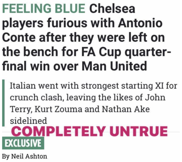 The Blues captain took to Instagram to respond to reports suggesting than him and three of his team-mates have fallen out with Antonio Conte