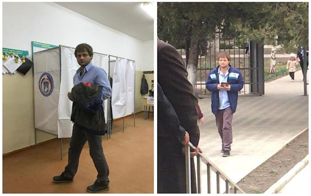 <p>A combination picture shows a voter, visiting a polling station number 217 (L) and walking before entering a polling station number 216, during the presidential election in Ust-Djeguta, Russia March 18, 2018. The voter, asked by a Reuters reporter why he was voting a second time, said he had voted only once, and then he left the polling station. (Reuters staff) </p>