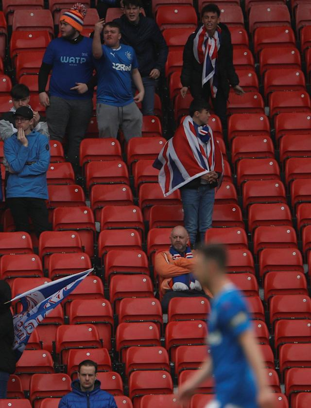Soccer Football - Scottish Cup Semi Final - Celtic vs Rangers - Hampden Park, Glasgow, Britain - April 15, 2018 Rangers fans look dejected after the match Action Images via Reuters/Lee Smith