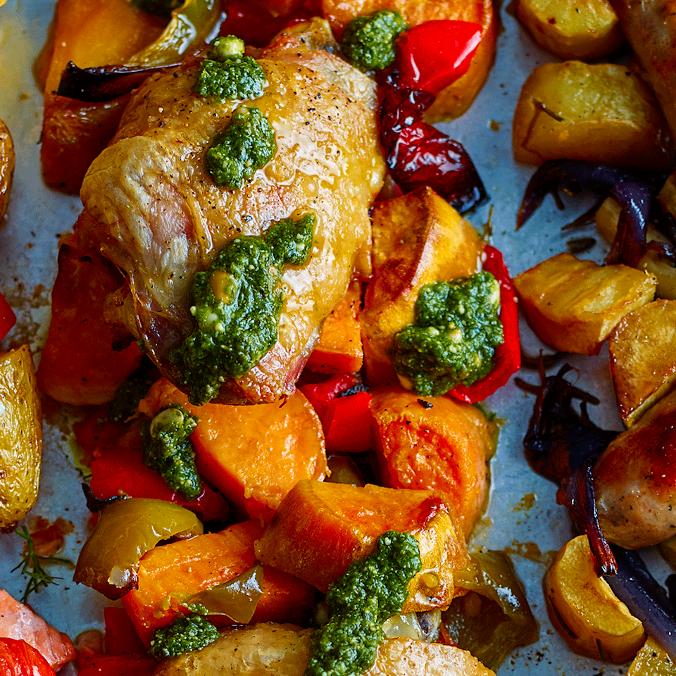 """<p>This chicken tray bake recipe with sweet potato is an easy mid-week supper that takes minutes to prepare.</p><p><strong>Recipe: <a href=""""https://www.goodhousekeeping.com/uk/food/recipes/a567622/chicken-sweet-potato-traybake/"""" rel=""""nofollow noopener"""" target=""""_blank"""" data-ylk=""""slk:Chicken, sweet potato and pesto tray bake"""" class=""""link rapid-noclick-resp"""">Chicken, sweet potato and pesto tray bake</a></strong></p>"""