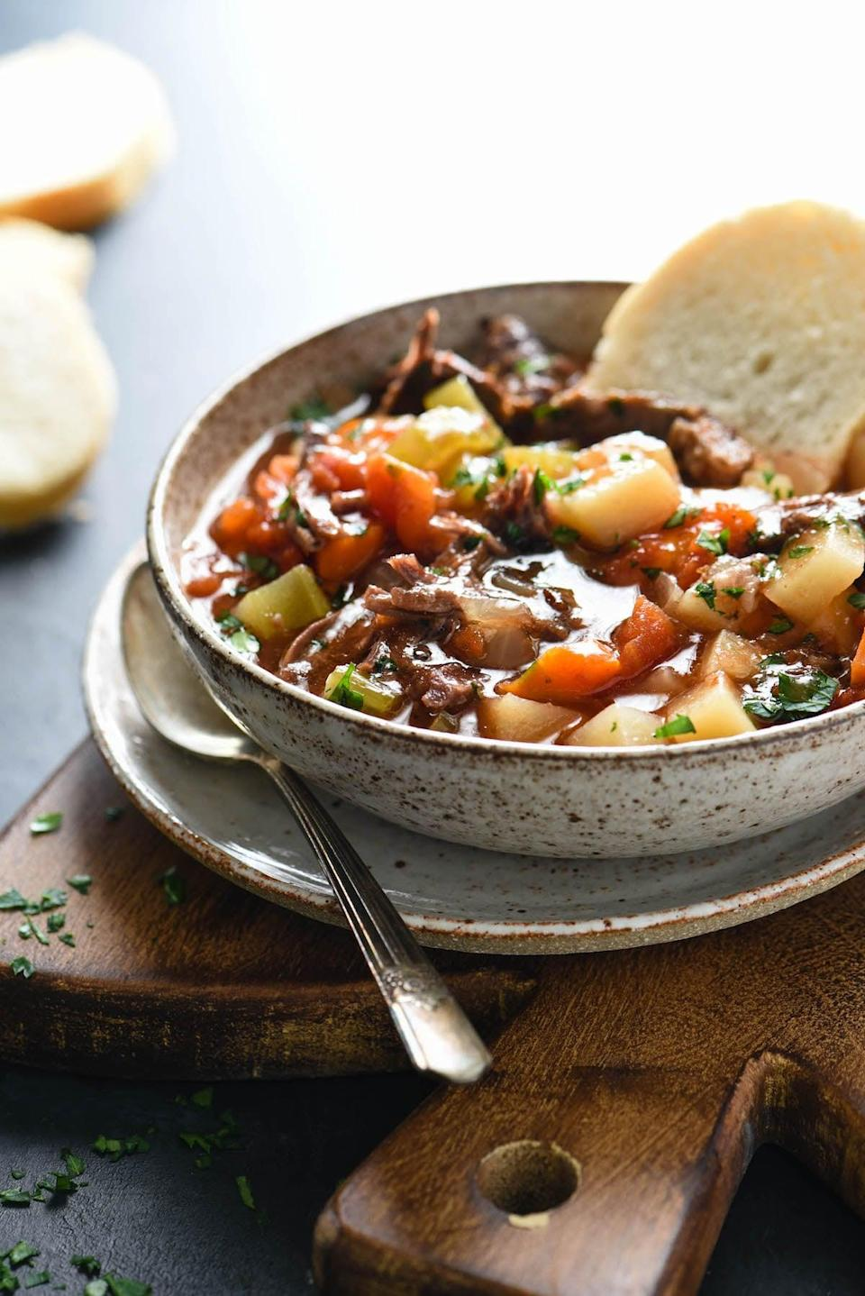 """<p>Bookmark this <a href=""""https://foxeslovelemons.com/slow-cooker-vegetable-beef-soup/"""" class=""""link rapid-noclick-resp"""" rel=""""nofollow noopener"""" target=""""_blank"""" data-ylk=""""slk:vegetable beef soup"""">vegetable beef soup</a> for chilly or rainy nights in.</p>"""