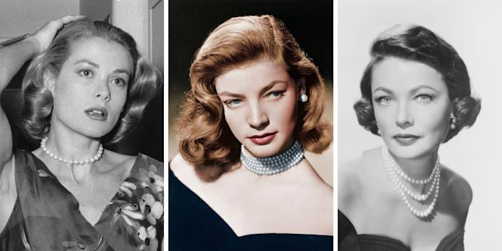 Pearls were a popular choice among many of Old Hollywood's leading ladies, such asGrace Kelly, Lauren Bacall and Gene Tierney (all seen here). Strings of pearls, whether layered or singular, are elegant and timeless, making them a perfect gift.