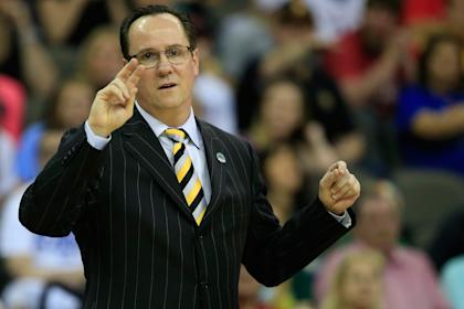 Gregg Marshall gives instructions to Wichita State players during their Sweet 16 loss to Notre Dame. (Getty)