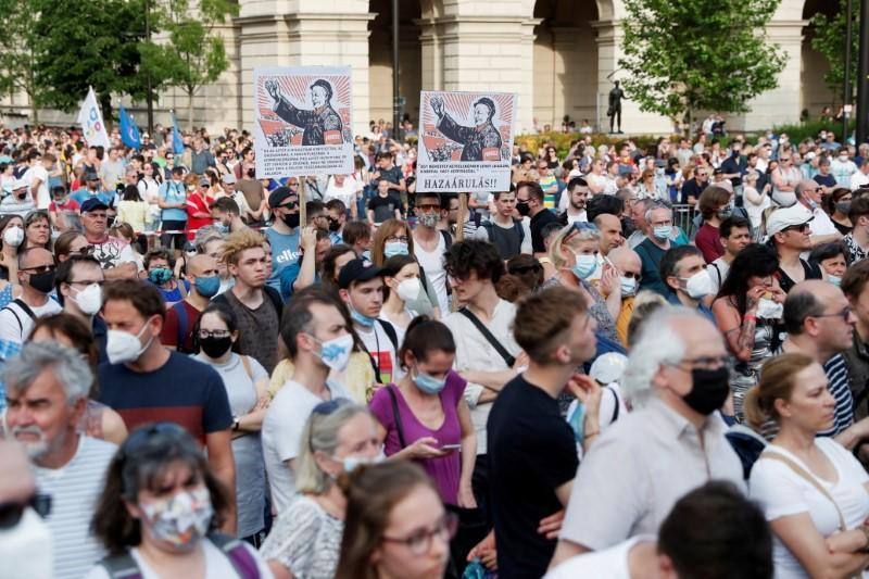 FILE PHOTO: Protest against Chinese Fudan University campus in Budapest