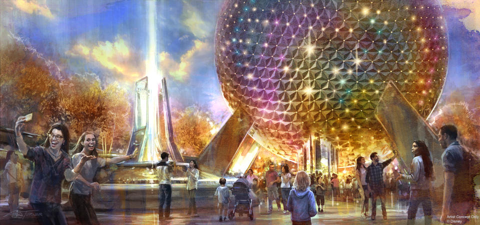 The park's entrance will be transformed with a reimagined fountain, new pathways, and sweeping green spaces that beautify the entryway while paying homage to the origins of Epcot. (Disney)
