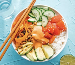"""<p>Ever heard of tomato tuna? Well, surprise surprise, it's not actually tuna at all, and is a great sub-in for your raw vegan poké bowls. Sub the cooked rice for some chopped up cauliflower and you're good to go. <br><br><a class=""""link rapid-noclick-resp"""" href=""""https://www.liveeatlearn.com/vegan-tuna-sushi-bowl/"""" rel=""""nofollow noopener"""" target=""""_blank"""" data-ylk=""""slk:Get the recipe"""">Get the recipe</a><br><em><br>Per one large bowl: 798 cal, 32.6 g fat (6.1 g saturated fat), 115.1 g carbs, 17.2 g sugar, 1757 mg sodium, 12.5 g fiber, 12.5 g protein</em></p>"""