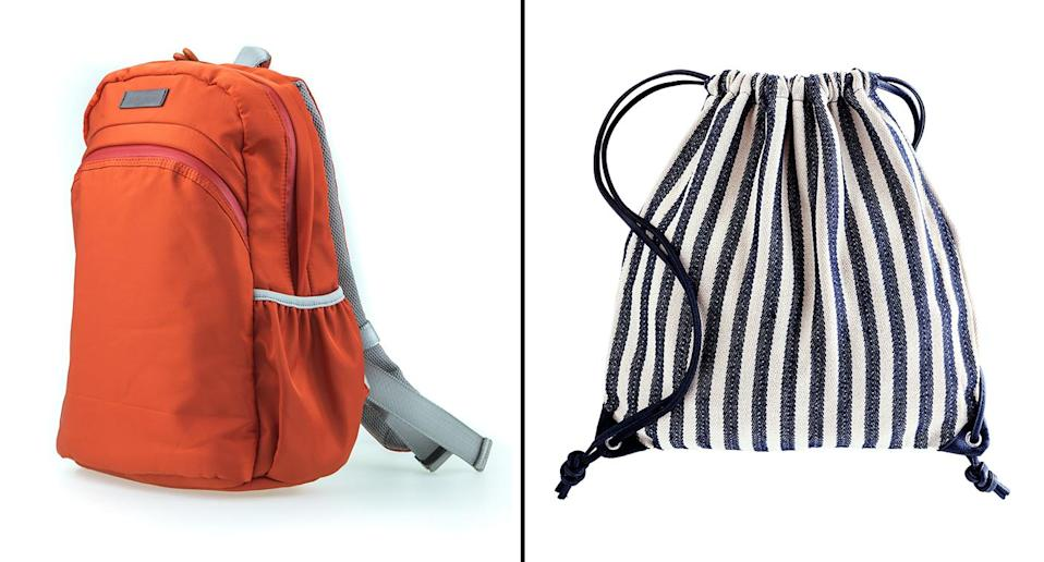 Backpacks (left) and string bags (right, file) are safer alternatives to green bags to help avoid shoulder injuries. Source: Getty