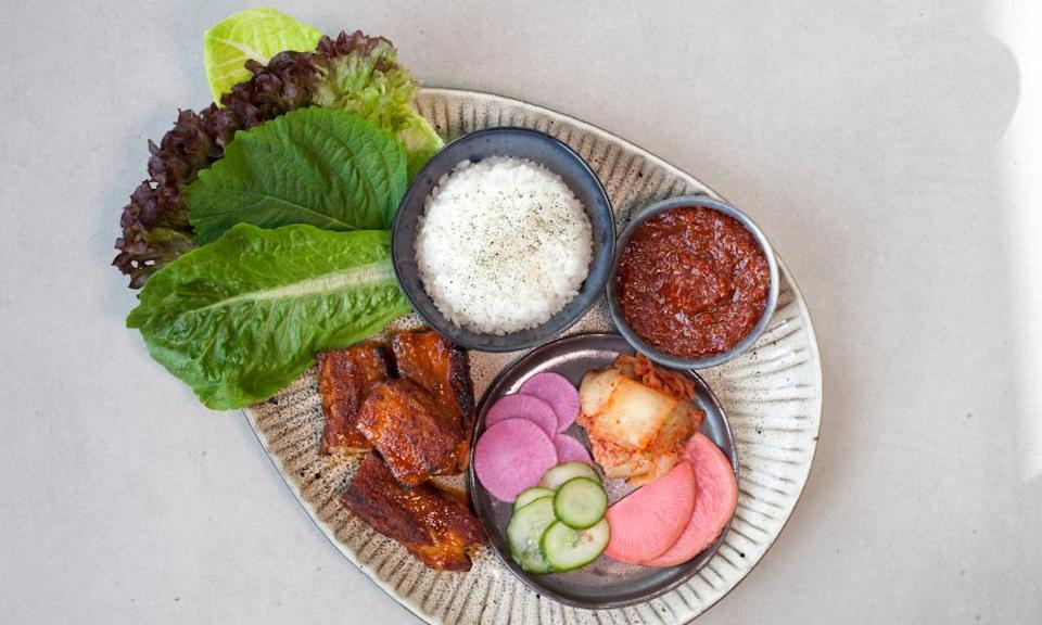 'The strident fermented chilli paste makes everything bounce and sing': pork belly ssam.