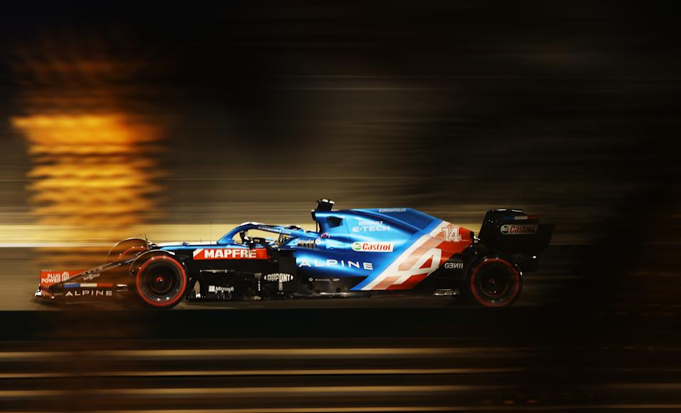 BAHRAIN, BAHRAIN - MARCH 27: Fernando Alonso of Spain driving the (14) Alpine A521 Renault on track during qualifying ahead of the F1 Grand Prix of Bahrain at Bahrain International Circuit on March 27, 2021 in Bahrain, Bahrain. (Photo by Bryn Lennon/Getty Images)
