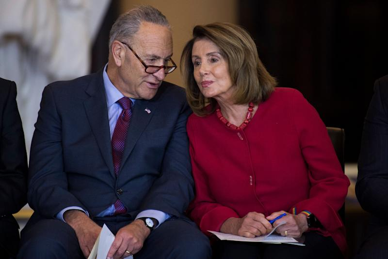 Senate Minority Leader Charles Schumer (D-N.Y.) and House Minority Leader Nancy Pelosi, (D-Calif.).