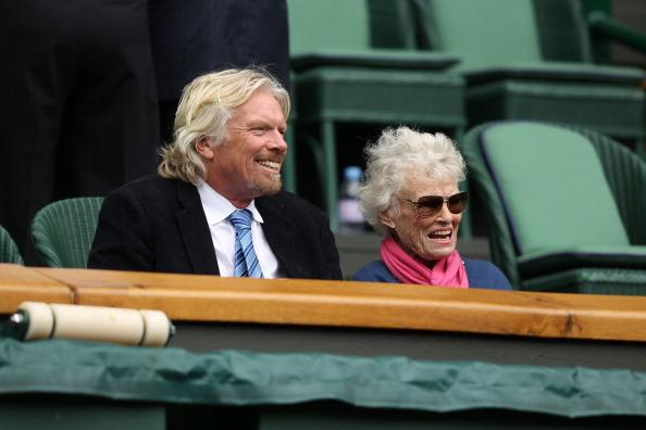 Sir Richard Branson (L) and his mother Eve Branson look on from the Royal Box on Centre Court on day seven of the Wimbledon Lawn Tennis Championships at the All England Lawn Tennis and Croquet Club on July 2, 2012 in London, England. (Photo by Clive Rose/Getty Images)