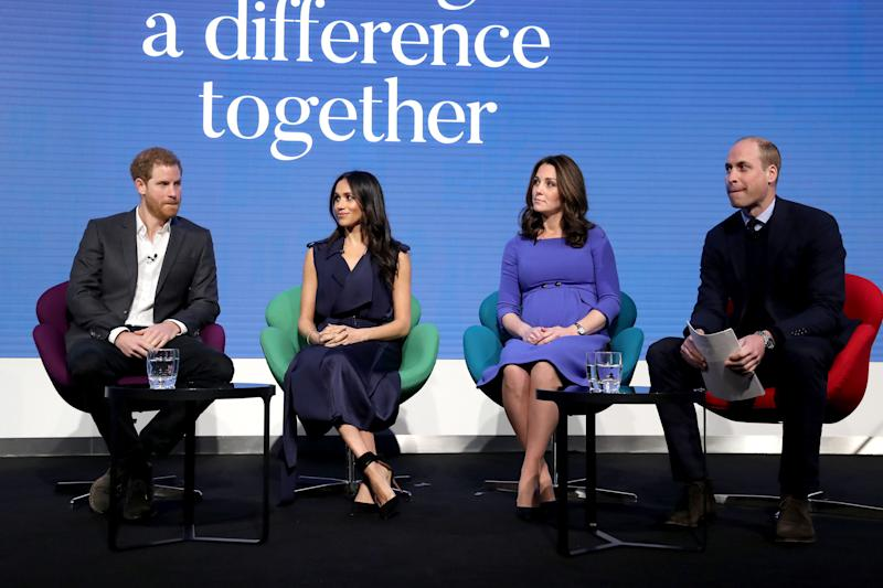 File photo dated 28/02/18 of (left to right)the Duke of Sussex, the Duchess of Sussex, the Duchess of Cambridge and the Duke of Cambridge during the first Royal Foundation Forum in central London. The Duke and Duchess of Sussex are to formally split from their joint charity with the Duke and Duchess of Cambridge, and set up their own new foundation, it has been announced.