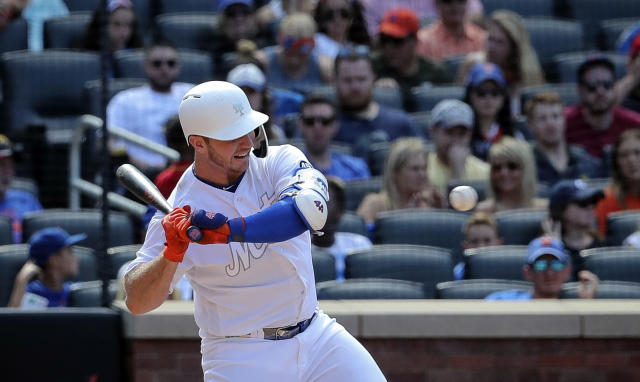 New York Mets' Pete Alonso swings at pitch during a baseball game against the Atlanta Braves, Sunday Aug. 25, 2019, in New York. (AP Photo/Bebeto Matthews)