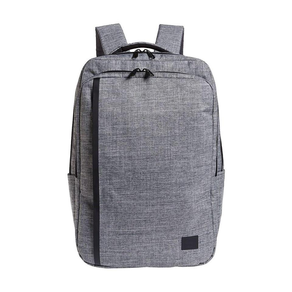 """<p><strong>Herschel</strong></p><p>nordstrom.com</p><p><strong>$130.00</strong></p><p><a href=""""https://go.redirectingat.com?id=74968X1596630&url=https%3A%2F%2Fshop.nordstrom.com%2Fs%2Fherschel-supply-co-travel-backpack%2F5504115&sref=https%3A%2F%2Fwww.bestproducts.com%2Ffitness%2Fclothing%2Fg1214%2Fgym-backpacks-sports-bags%2F"""" rel=""""nofollow noopener"""" target=""""_blank"""" data-ylk=""""slk:Shop Now"""" class=""""link rapid-noclick-resp"""">Shop Now</a></p><p>You can take this bag along as an in-flight carry-on (there's even a luggage sleeve to easily slide the backpack over your luggage handle), or take it along your daily commute from the gym to work. With the exterior and interior pockets, there's plenty of space for even a weekend's worth of clothes. </p><p><strong>More</strong>: <a href=""""https://www.bestproducts.com/lifestyle/a14434795/reviews-carry-on-luggage-bags/"""" rel=""""nofollow noopener"""" target=""""_blank"""" data-ylk=""""slk:Pack All Your Travel Essentials Into These Carry-On Bags"""" class=""""link rapid-noclick-resp"""">Pack All Your Travel Essentials Into These Carry-On Bags </a></p>"""