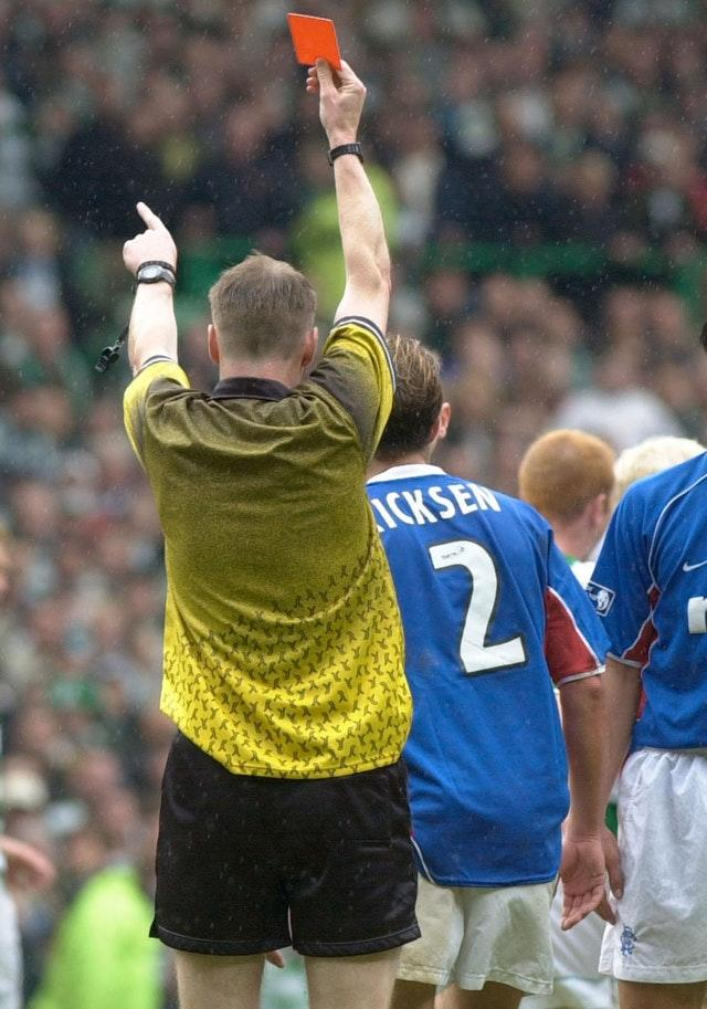 Fernando Ricksen gets his marching orders during another full-blooded Old Firm derby