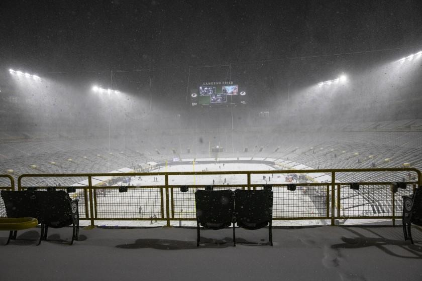General view of Lambeau field before an NFL football game, Sunday, Dec 27. 2020, between the Tennessee Titans and Green Bay Packers in Green Bay, Wis. (AP Photo/Jeffrey Phelps)