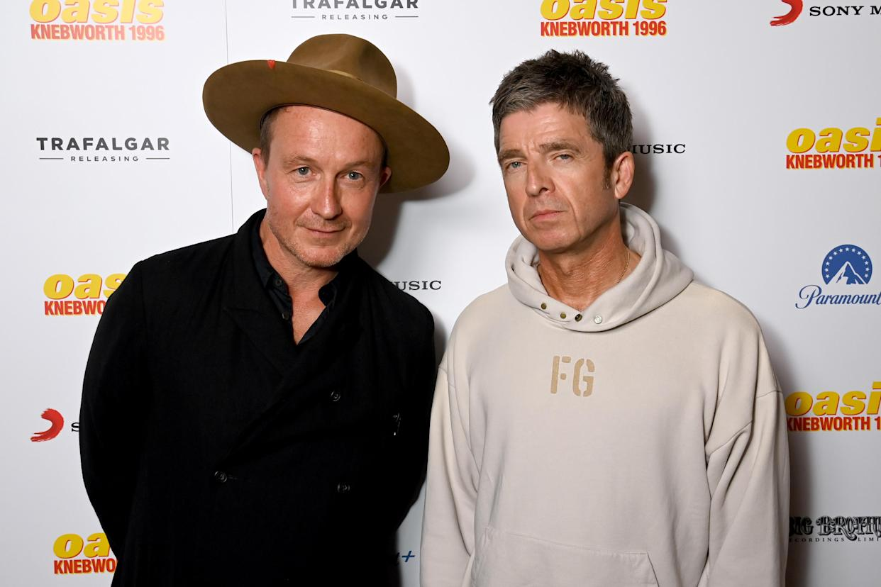 Jake Scott, director, and Noel Gallagher at the world premiere of 'Oasis Knebworth 1996'. (Dave J Hogan/Getty Images)