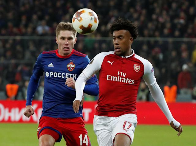 Soccer Football - Europa League Quarter Final Second Leg - CSKA Moscow v Arsenal - VEB Arena, Moscow, Russia - April 12, 2018 Arsenal's Alex Iwobi in action with CSKA Moscow's Kirill Nababkin REUTERS/Grigory Dukor