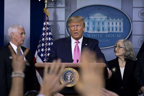PHOTO: President Donald Trump speaks at the beginning of a news conference with members of the coronavirus task force, including Vice President Mike Pence in the Brady Press Briefing Room at the White House, Feb. 26, 2020. (Tasos Katopodis/Getty Images)