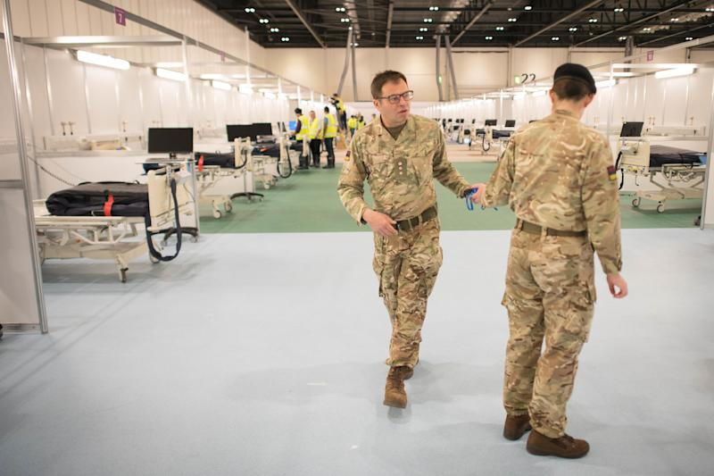 Military personnel, pictured at the ExCel centre in London, also worked on the Nightingale hospitals (Photo: Stefan Rousseau - PA Images via Getty Images)