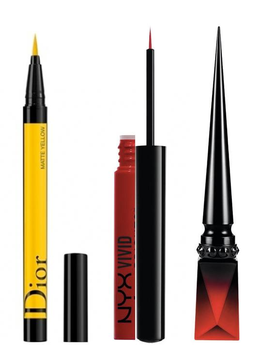 Eyeliner Feutre DiorShow On Stage n° 541 matte yellow, Dior, 34,50 €. Eyeliner Vivid Brights fire, NYX Cosmetics, 5,90 €. Traceur Brillant pour les Yeux OEil Vinyle rouge Louboutin, Christian Louboutin, 75 €.