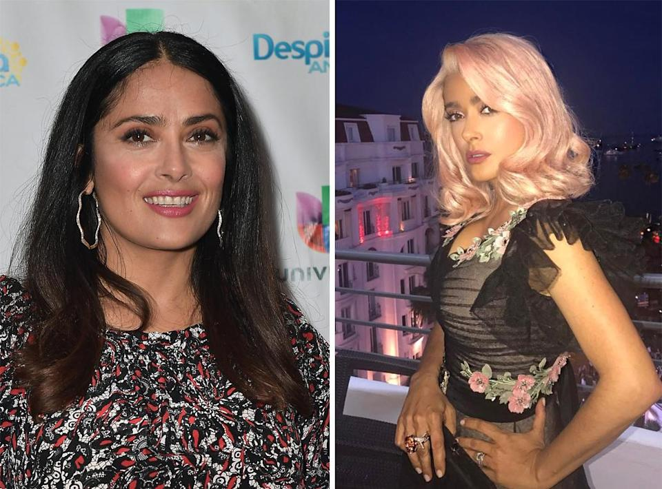 <p><strong>When:</strong> May 21<br>Salma boldly chose a rose-coloured do for a swanky event at Cannes Film Festival.<br><i>[Photo: Getty/Instagram]</i> </p>