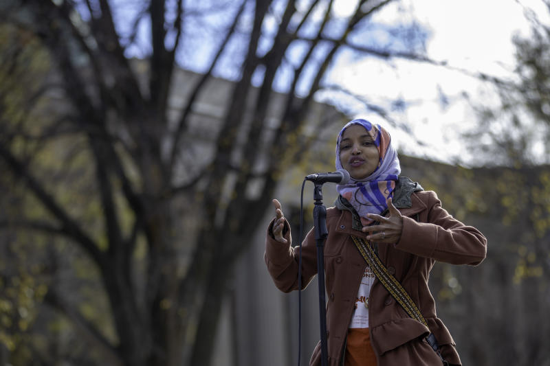 Ilhan Omar, a Muslim Somali-American running for Minnesota's 5th Congressional District, campaigns at the University of Minnesota in Minneapolis on Nov. 2. An October report from Muslim Advocates found dozens of candidates nationwide who ran on anti-Muslim platforms.