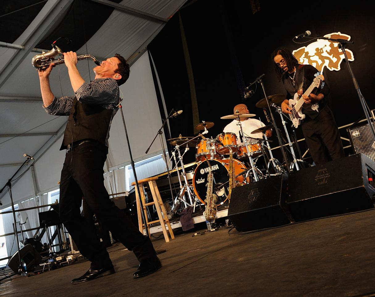 NEW ORLEANS, LA - APRIL 28:  Dave Koz performs during the 2012 New Orleans Jazz & Heritage Festival Day 2 at the Fair Grounds Race Course on April 28, 2012 in New Orleans, Louisiana.  (Photo by Rick Diamond/Getty Images)