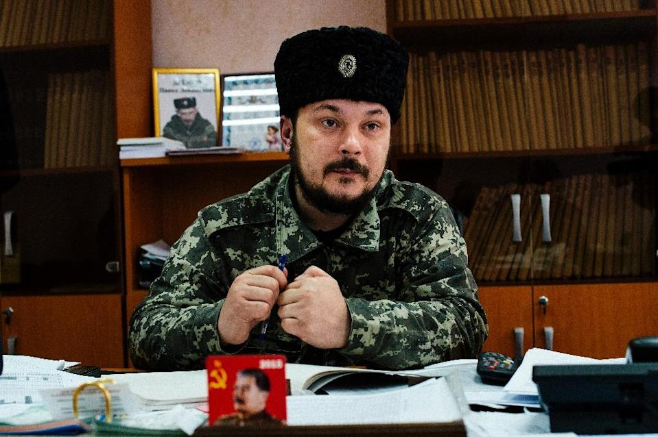 Vasil Kiseliev, deputy mayor of the eastern Ukrainian town of Stakhanov, pictured during an interview with AFP (AFP Photo/Dimitar Dilkoff)
