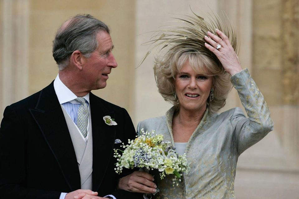 <p>Prince Charles and Camilla Parker Bowles got married, each for the second time, in a civil ceremony and religious blessing in 2005. The bride did not wear white, but the engagement ring the prince proposed with was extremely traditional. </p>