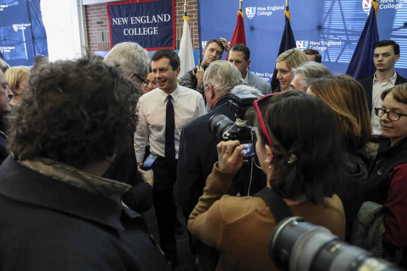 Democratic presidential candidate South Bend, Ind., Mayor Pete Buttigieg greets people after speaking at a campaign event Thursday, Dec. 5, 2019, at New England College in Henniker, N.H. (AP Photo/ Cheryl Senter)