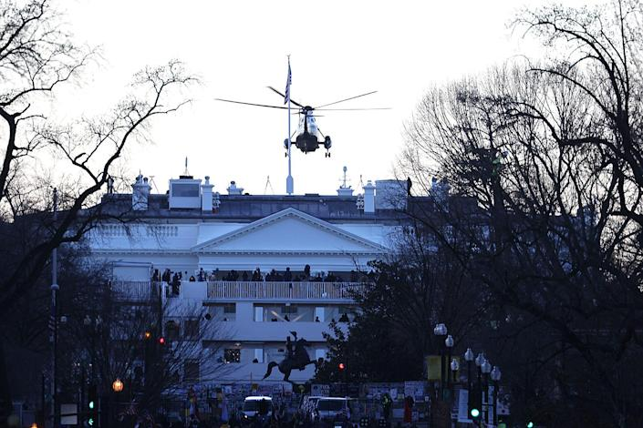 <p>Marine One leaves the White House with Donald Trump and Melania Trump on board. </p>