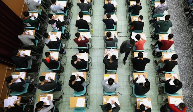 A postponement of Hong Kong's university entrance exams was among a raft of social distancing measures announced by Chief Executive Carrie Lam on March 21. Photo: Pool