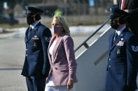 First lady Jill Biden arrives at Erie International Airport in Erie, Pa., Wednesday, March 3, 2021. (Mandel Ngan/Pool via AP)