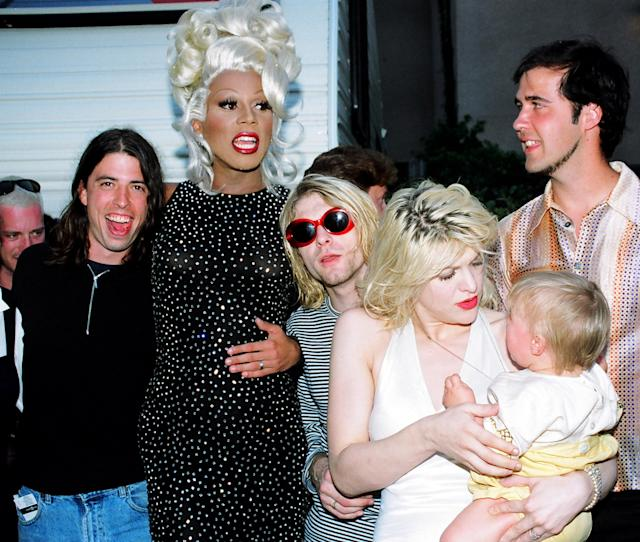 David Grohl, RuPaul, Kurt Cobain, Courtney Love, Francis Bean Cobain, and Krist Novoselic at the 1993 VMAs. (Photo: Jeff Kravitz/FilmMagic)