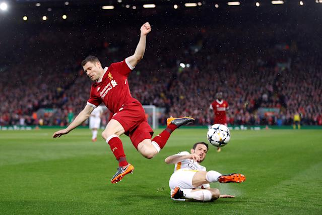 Soccer Football - Champions League Semi Final First Leg - Liverpool vs AS Roma - Anfield, Liverpool, Britain - April 24, 2018 Roma's Alessandro Florenzi in action with Liverpool's James Milner Action Images via Reuters/Carl Recine TPX IMAGES OF THE DAY