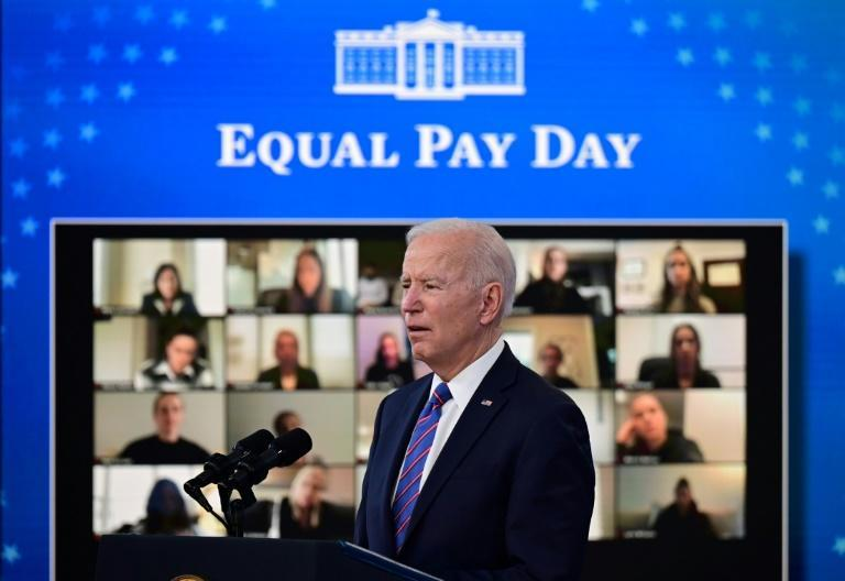 US President Joe Biden speaks during an Equal Pay Day event in the South Court Auditorium of the White House in Washington DC