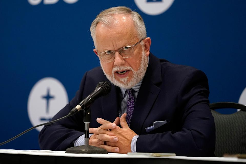 Pastor Ed Litton, of Saraland, Ala., answers questions after being elected president of the Southern Baptist Convention Tuesday, June 15, 2021, in Nashville, Tenn. (AP Photo/Mark Humphrey)