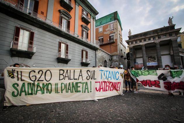 A moment of a protest against the G20 environment ministers that will open tomorrow in Naples, Italy, 21 July 2021.   ANSA/CESARE ABBATE (Photo: CESARE ABBATEANSA)