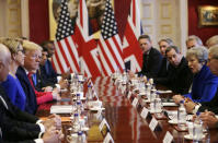Prime Minister Theresa May hosts a business roundtable event with U.S President Donald Trump at St. James's Palace. (Tim Ireland - WPA Pool/Getty Images)