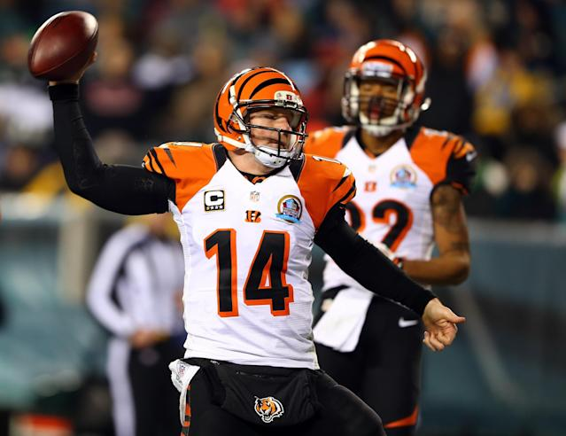 PHILADELPHIA, PA - DECEMBER 13: Andy Dalton #14 of the Cincinnati Bengals celebrates his touchdown in the second half against the Philadelphia Eagles on December 13, 2012 at Lincoln Financial Field in Philadelphia, Pennsylvania. (Photo by Elsa/Getty Images)