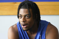 Duke guard Trevor Keels speaks with reporters during the team's NCAA college basketball media day in Durham, N.C., Tuesday, Sept. 28, 2021. (AP Photo/Gerry Broome)