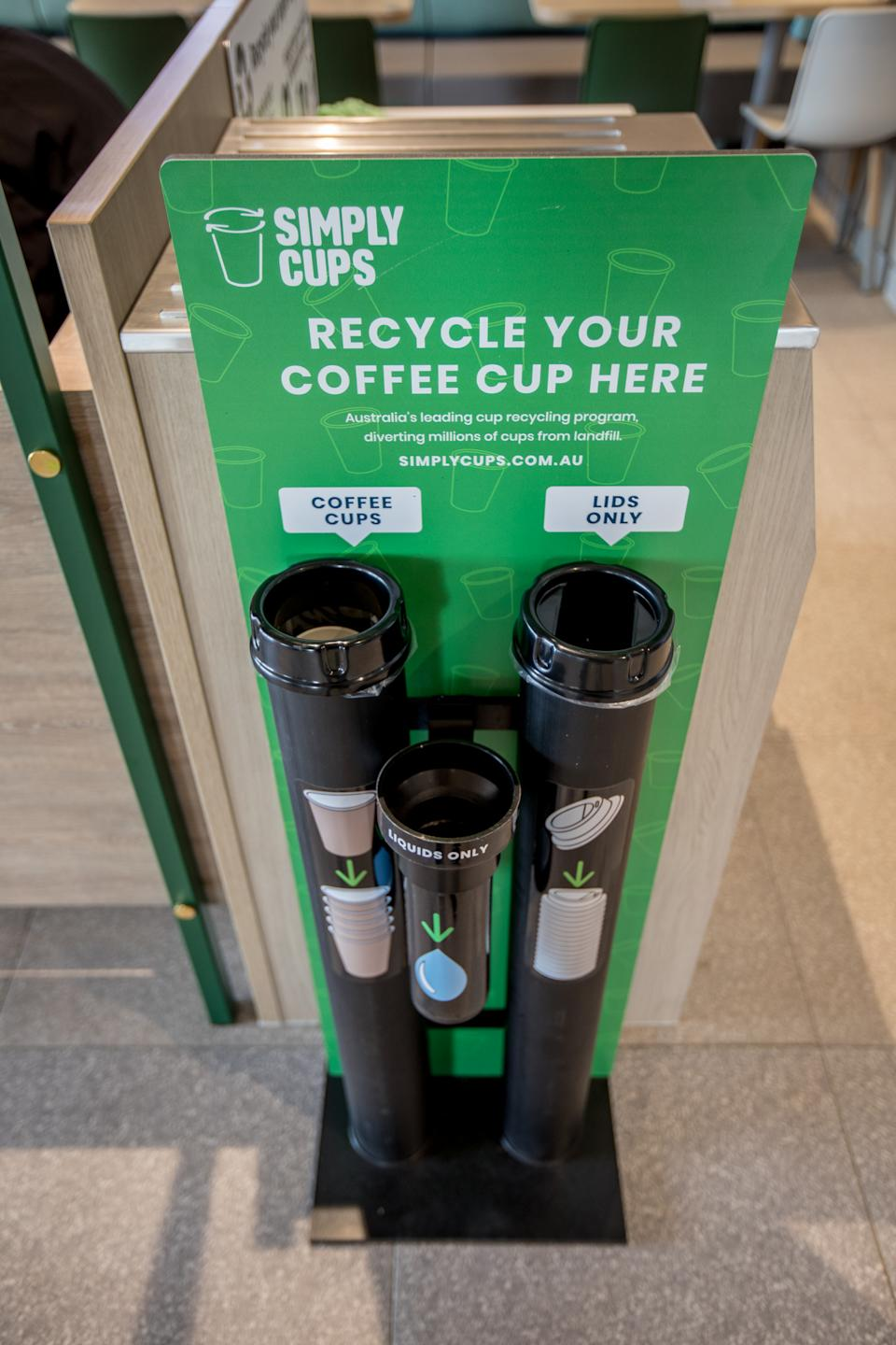 A coffee cup recycling station at Melton's new McDonald's store.