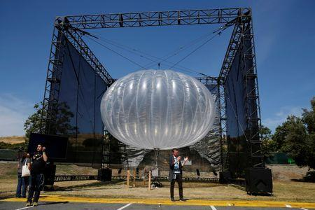 A Google Project Loon internet balloon is seen at the Google I/O 2016 developers conference in Mountain View, California May 19, 2016.  REUTERS/Stephen Lam