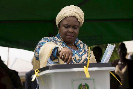 Patience Jonathan, wife of Nigeria's president, casts her vote in Otuoke
