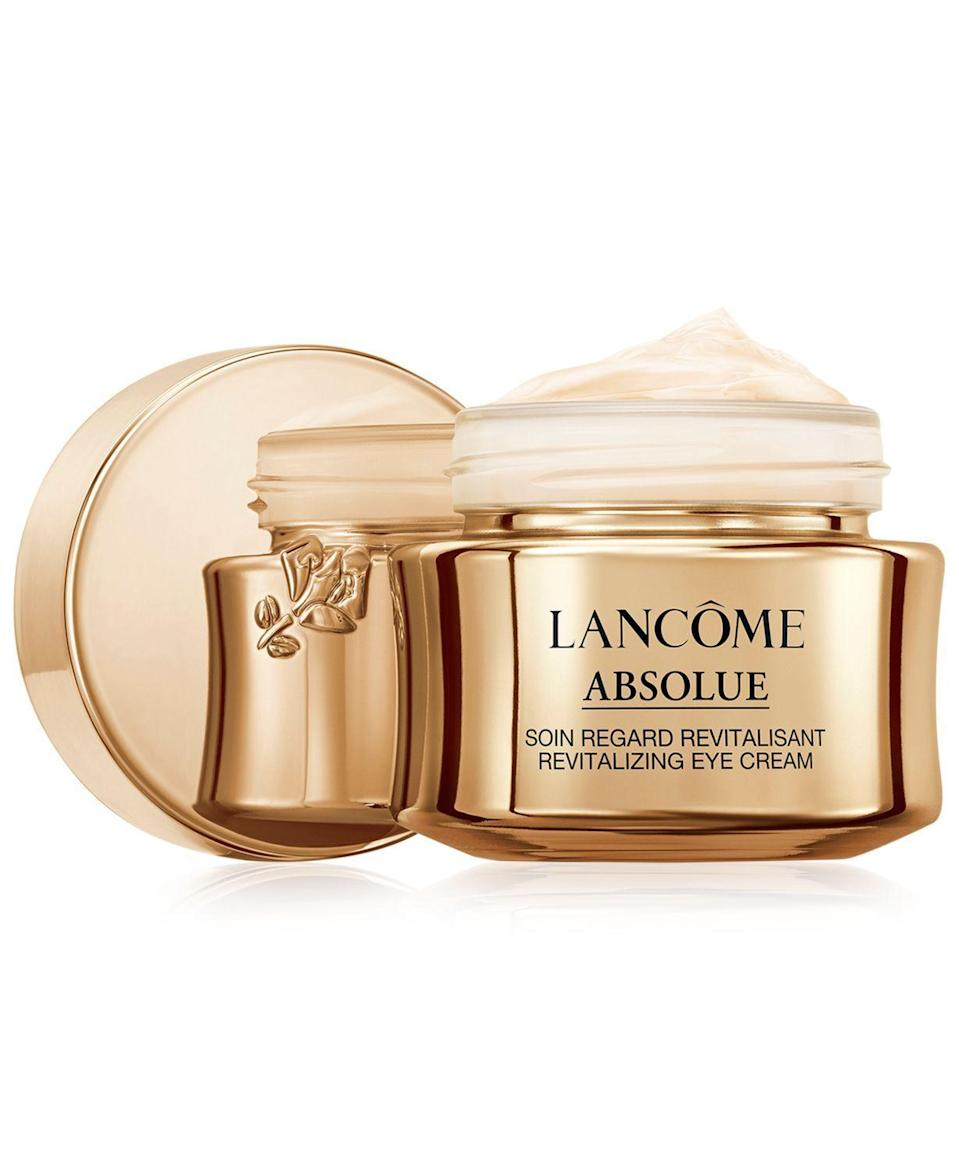 """<p><strong>Lancôme </strong></p><p>macys.com</p><p><strong>$128.00</strong></p><p><a href=""""https://go.redirectingat.com?id=74968X1596630&url=https%3A%2F%2Fwww.macys.com%2Fshop%2Fproduct%2Flancome-absolue-revitalizing-eye-cream-with-grand-rose-extracts-0.7-oz.%3FID%3D7796314&sref=https%3A%2F%2Fwww.goodhousekeeping.com%2Fbeauty%2Fanti-aging%2Fg26858923%2Fbest-eye-creams%2F"""" rel=""""nofollow noopener"""" target=""""_blank"""" data-ylk=""""slk:Shop Now"""" class=""""link rapid-noclick-resp"""">Shop Now</a></p><p>Lancôme's luxe, vitamin-packed cream <strong>won the GH Beauty Lab's latest anti-aging eye cream test, </strong>proving worth the splurge for hydrating and firming. The formula scored highest for increasing skin moisture, by 41% over six hours and boosted firmness by 29% over four weeks of use. Several testers said they could see a noticeable difference: """"My bags are almost gone,"""" said one.</p>"""