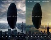 <p>Movie fans in Hong Kong were outraged when this 'Arrival' poster showed Shanghai's Oriental Pearl Tower as part of the iconic Hong Kong skyline. It was withdrawn by Paramount and replaced with another poster (right) of Shanghai's skyline relegating Hong Kong to the far distance, thus offending Hong Kong residents a second time. (Credit: Paramount/eOne UK) </p>