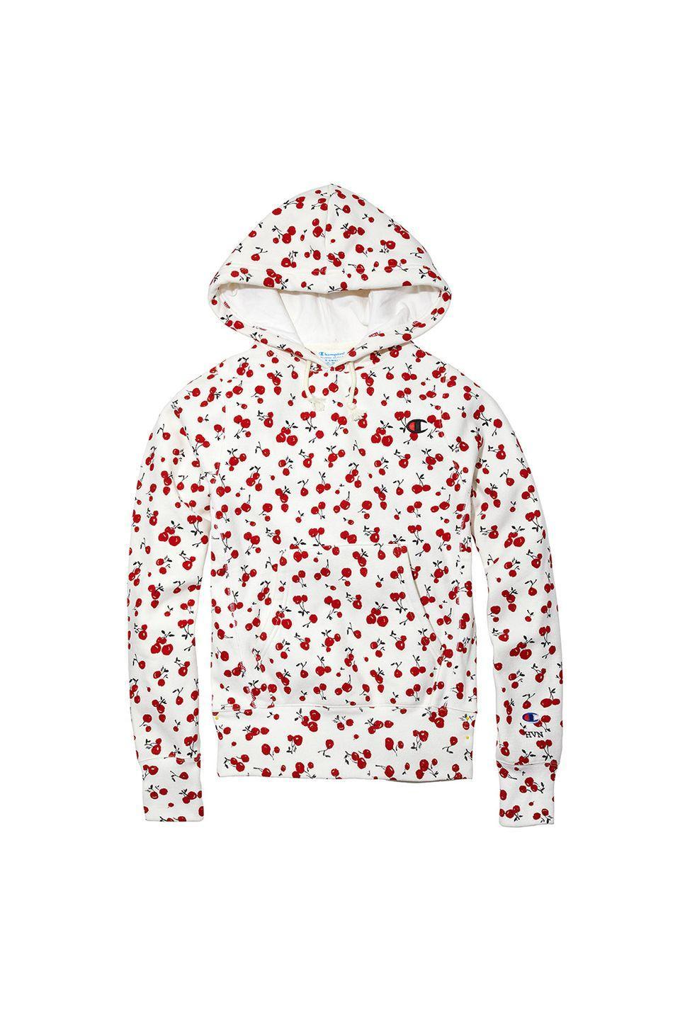"""<p>Cherries are a guaranteed pick-me-up, especially when they're all over your fave sweatshirt. </p><p>Champion + HVN for Urban Outfitters hoodie, $80, <a href=""""https://www.urbanoutfitters.com/"""" rel=""""nofollow noopener"""" target=""""_blank"""" data-ylk=""""slk:urbanoutfitters.com"""" class=""""link rapid-noclick-resp"""">urbanoutfitters.com</a></p>"""