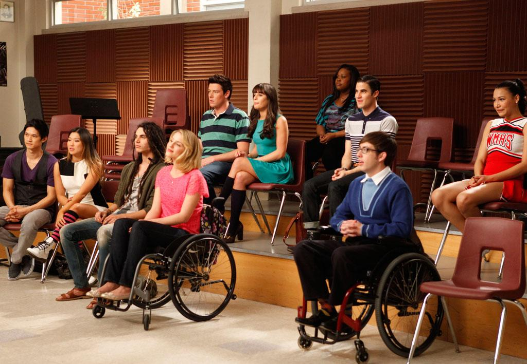 "The glee club watches a performance in the ""Dance With Somebody"" episode of ""Glee."""